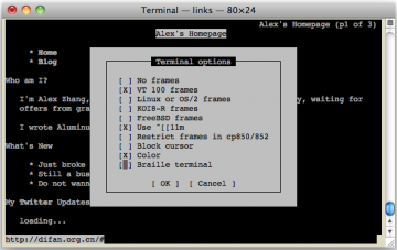 Terminal Type screen for links2