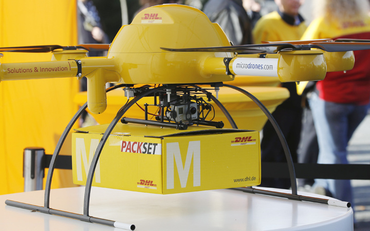 "A prototype ""parcelcopter"" of German postal and logistics group Deutsche Post DHL is seen in Bonn"