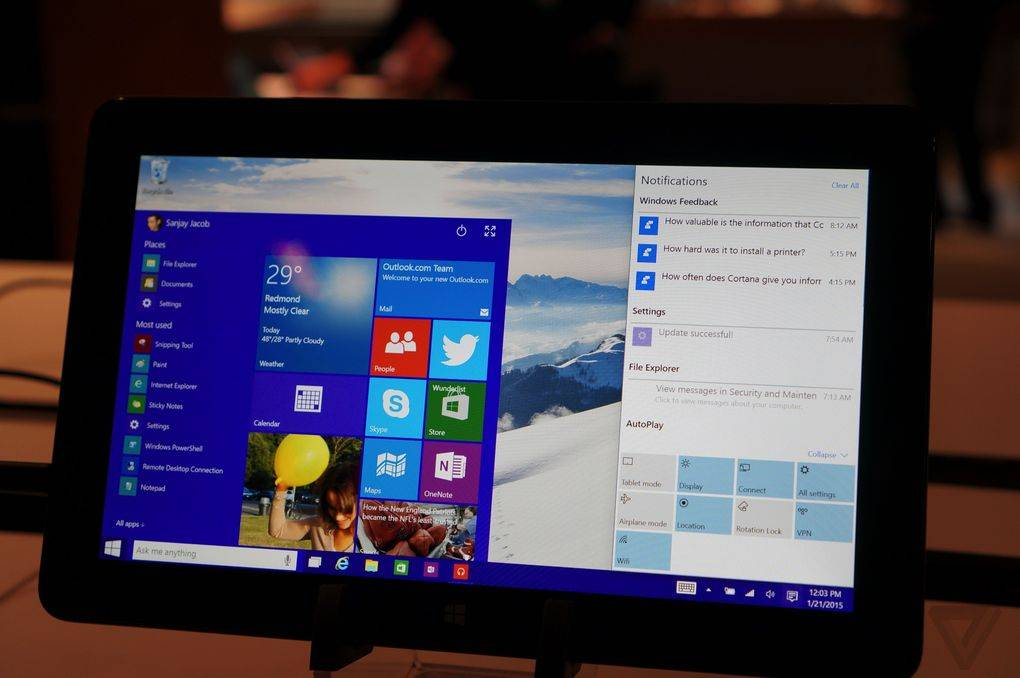 Windows 10 small tablets Notification Center