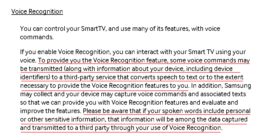 Samsung SmartTV Voice Recognition