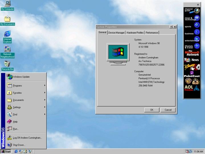 Windows Start Menue Windows 98
