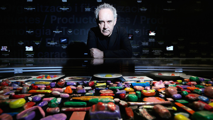 Catalan chef Ferran Adrià poses with plasticine models of his food on display at Somerset House in London. A new exhibit looks back at the influential modernist chef and his landmark restaurant, El Bulli