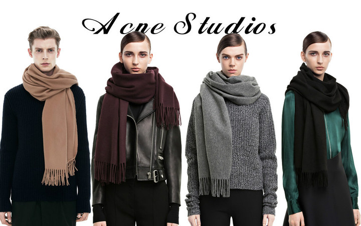 2014-All-match-ACNE-Studio-Women-tassel-scarf-pure-wool-long-scarf-thermal-Pashmina-Multi-color