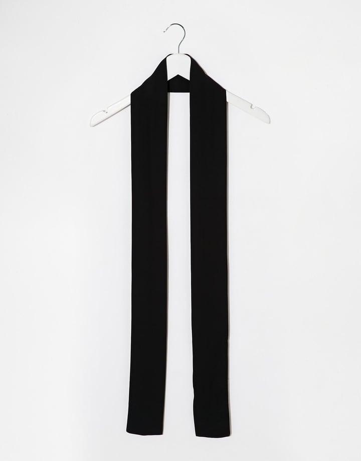 ASOS 70s Long Skinny Scarf In Black at ASOS