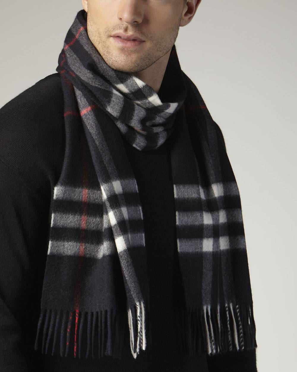 Burberry-Giant-Check-Cashmere-Scarf-Navy