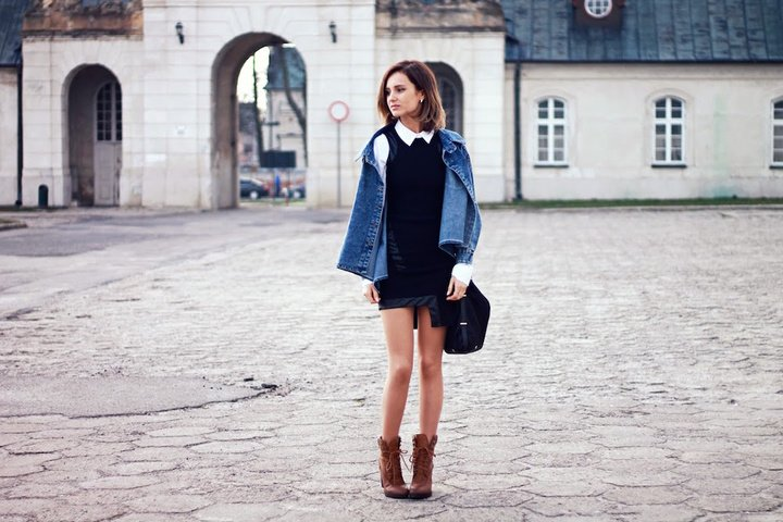 fashion blogger street style blog city style sheinside denim jacket black dress white shirt mohito bag ootd lookbook look outfit teenvogue vogue what to wear chic casual clothes girl