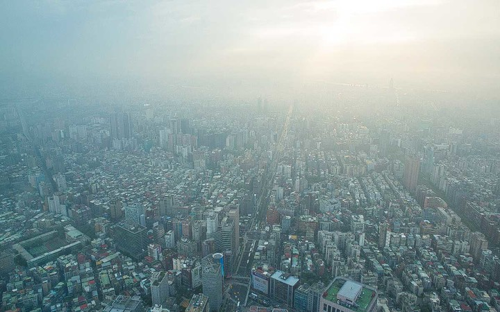 Aerial view of city in smog, Taipei, Taiwan, China