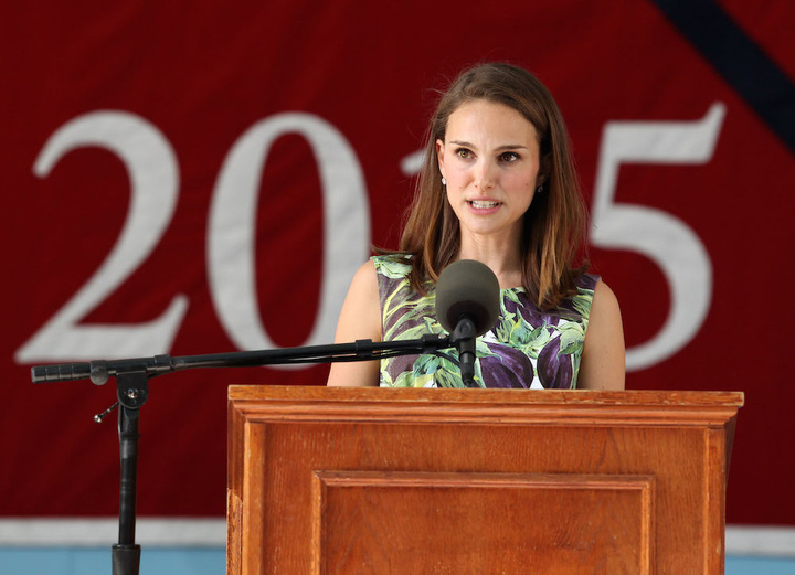 51755806 Actress Natalie Portman speaks at Harvard's College Class Day in Tercentenary Theater on May 27, 2015 in Cambridge, Massachusetts. College Class Day celebrates the undergraduate class the day before the official commencement ceremony. FameFlynet, Inc - Beverly Hills, CA, USA - +1 (818) 307-4813
