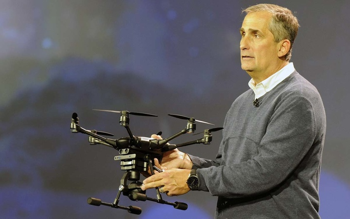 In this photo released by Intel Corporation, Brian Krzanich, Int