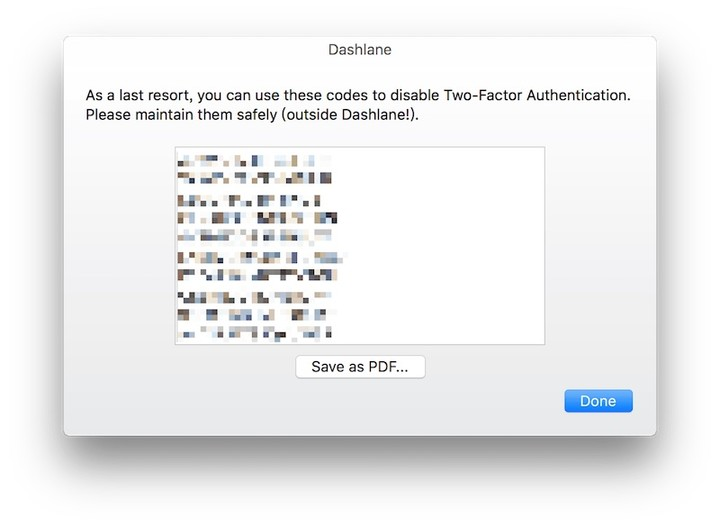 Dashlane enable two factor auth save back up codes