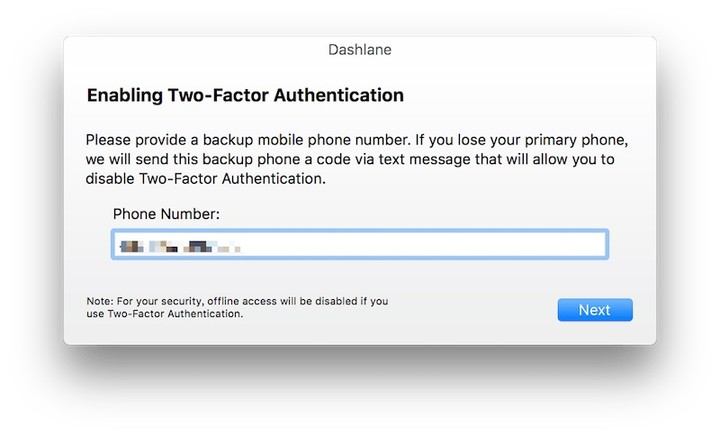 Dashlane enable two factor auth select back up phone number