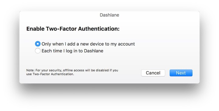 Dashlane enable two factor auth step 1