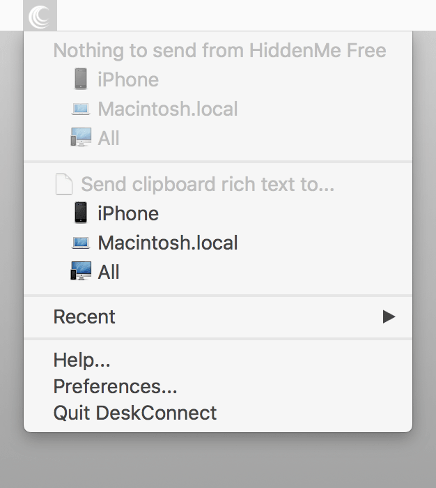 DeskConnect new version menubar