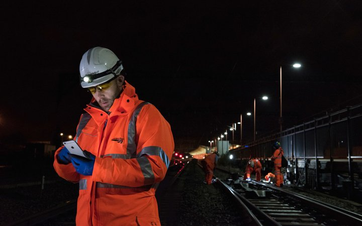 Network Rail track team using iPhone