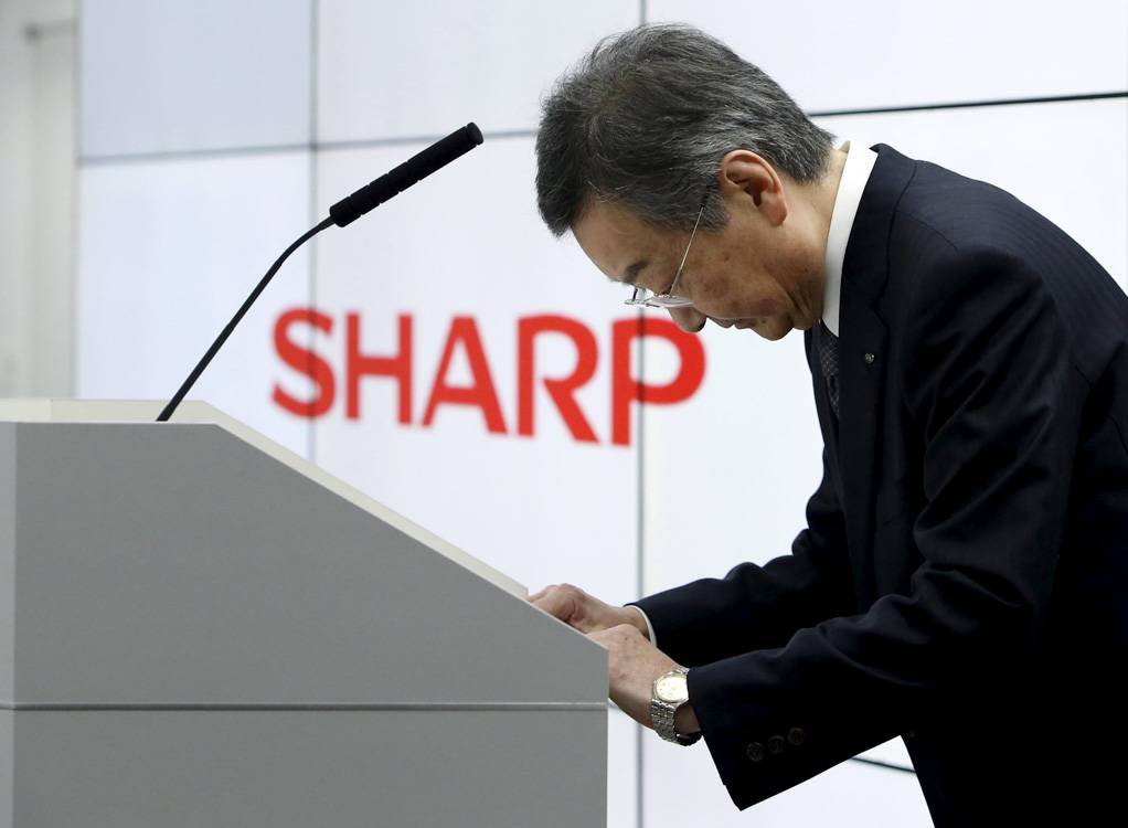 Sharp Corp Chief Executive Kozo Takahashi attends a news conference in Tokyo, Japan