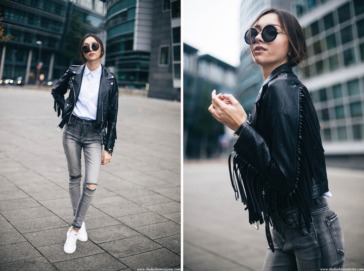 missguided-fringe-leather-jacket-forever-21-ripped-knee-jeans-Adidas-Stan-Smith-sneakers-blue-striped-shirt-street-style-1