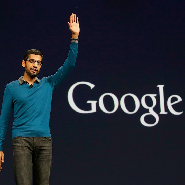 "File - In this Thursday, May 28, 2015 file photo, Sundar Pichai, senior vice president of Android, Chrome and Apps, waves after speaking during the Google I/O 2015 keynote presentation in San Francisco. Google is creating a new company ""Alphabet"" to oversee its highly lucrative Internet business and a growing flock of other ventures, including some — like building self-driving cars and researching ways to prolong human life — that are known more for their ambition than for turning an immediate profit. Google CEO and co-founder Larry Page will be CEO of the new holding company, while longtime Google executive Sundar Pichai will become CEO of Google's core business, including its search engine, online advertising operation and YouTube video service. (AP Photo/Jeff Chiu, File)"
