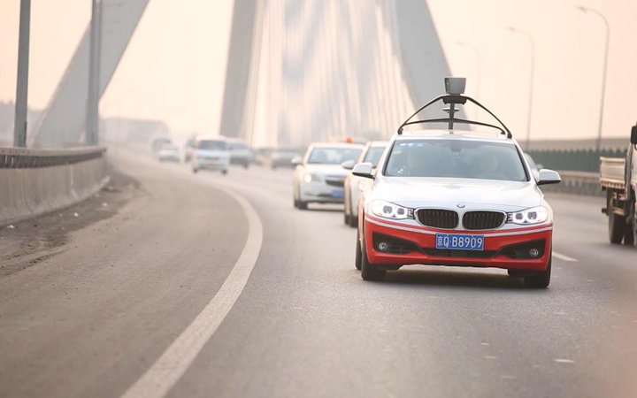 Baidu car on a bridge