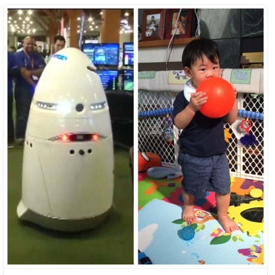 childern and robot