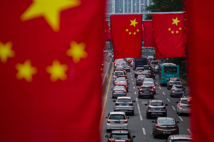 china flag and cars