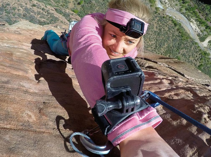 Go-Pro-Wrist-strap-hand-wrist-arm-leg-mount-in-use-rockclimbing-girl