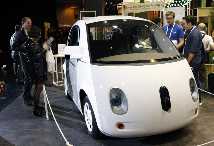 PARIS, FRANCE - JUNE 30: A Google self-driving car project is displayed during the Viva Technology show on June 30, 2016 in Paris, France. Viva Technology Startup Connect, the new international event brings together 5,000 startups with top investors, companies to grow businesses and all players in the digital transformation who shape the future of the internet. (Photo by Chesnot/Getty Images)