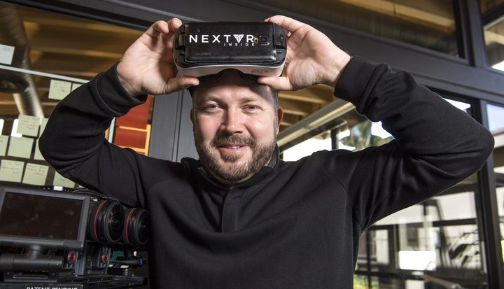 NextVr's founders DJ Roller with the company's virtual reality goggle. ///ADDITIONAL INFORMATION: NextVR.METRO.0605-6/1/15- KYUSUNG GONG, STAFF PHOTOGRAPHER – Feature on NextVr's founders David Cole and DJ Roller.