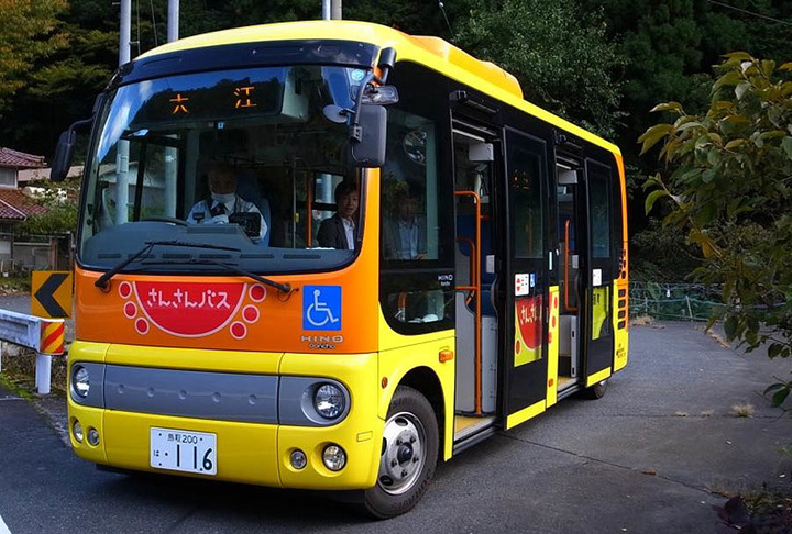 A bus in Yazu, Tottori, one of four towns partnering with SB Drive on autonomous driving tests. (Photographer: Yuki Saji via Bloomberg)