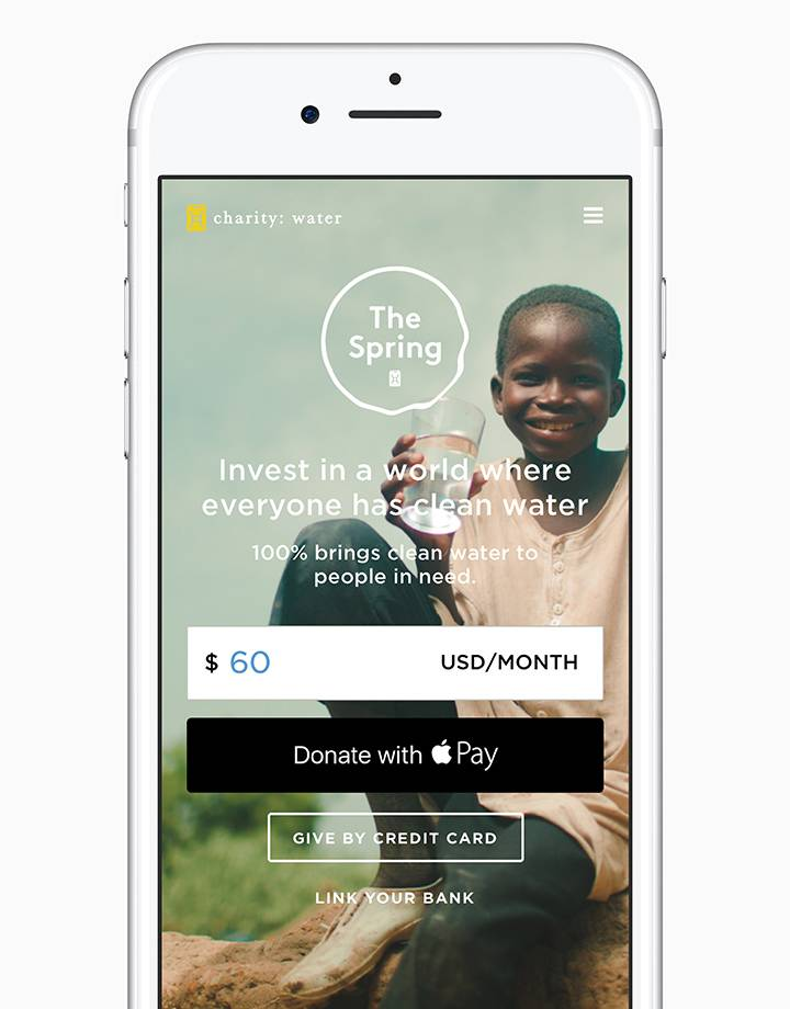 donate apple pay charity water